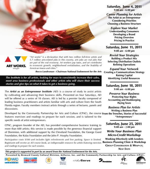 From Broward County: The Artist as an Entrepreneur Institute (AEI) June 2011