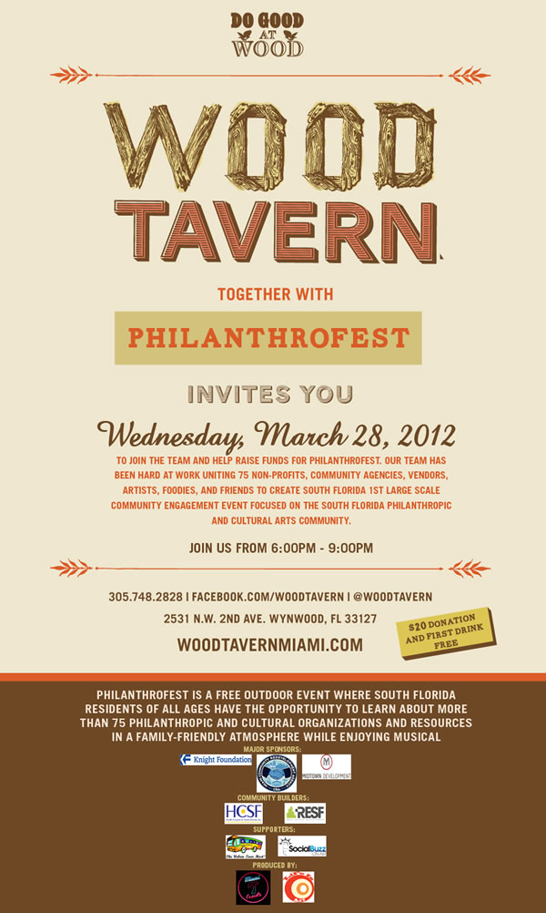 EVENT #53 PhilanthroPARTY – Wednesday March 28 @ Wood Tavern