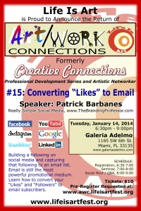 "EVENT #69 Art/Work Connections 15: Converting ""Likes"" to Email Subscribers by Patrick Barbanes January 14, 2014"