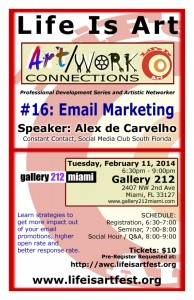 EVENT #72 Art/Work Connections 16: Email Marketing with Alex de Carvalho February 11, 2014