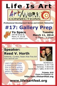 EVENT #75 Art/Work Connections 17: Gallery Prep with Reed V. Horth March 11, 2014