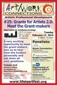EVENT #101 Art/Work Connections Seminar 25:  Grants for Artists 2.0 – Meet the Grantmakers February 17, 2015