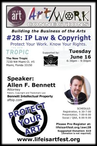 EVENT #109 Art/Work Connections Seminar #28: Intellectual Property Law, Copyright and Trademark of Artistic Works June 16, 2015