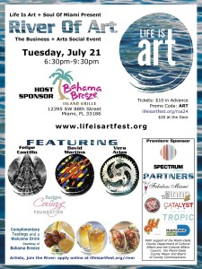 EVENT #112 River Of Art Pop-Up Art-in-Public-Places Exhibition and Social Mixer at Bahama Breeze Kendall on July 21, 2015
