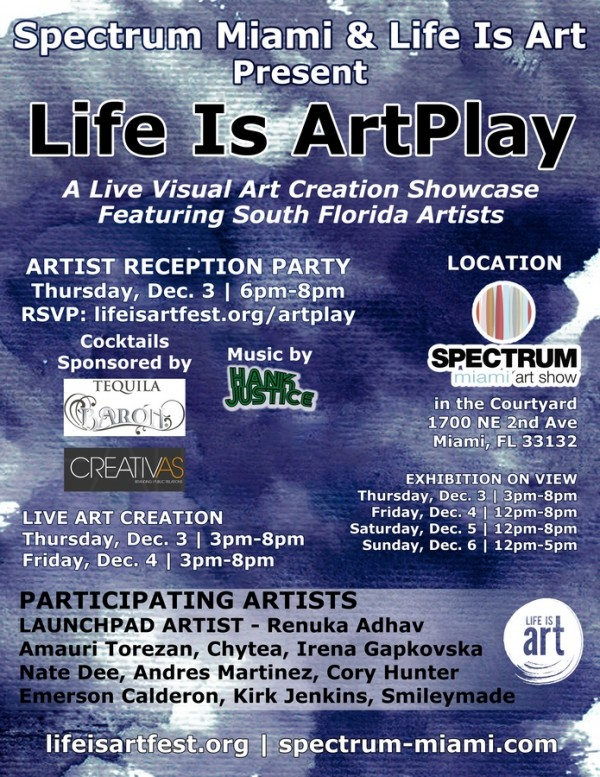 event 115 life is artplay at spectrum miami south florida artist