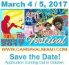 From Kiwanis Club of Little Havana: Call for Artists Carnaval on the Mile Art & Music Festival March 4-5, 2017, Deadline January 20, 2017